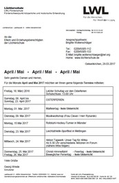 Elternbrief für April / Mai 2017